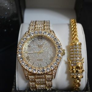 236adbe84 Other - 18K Gold PT Iced Out Watch and Stainless Bracelet